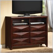 Coaster Bree Six Drawer Media Chest in Rich Brown Cherry