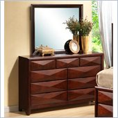 Coaster Bree Dresser and Mirror Set in Rich Brown Cherry