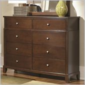 Coaster Addley Eight Drawer Double Dresser in Dark Cherry