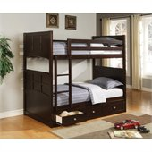 Coaster Jasper Twin Bunk Bed with Storage in Rich Cappuccino Finish