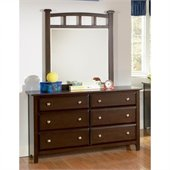 Coaster Jasper 6 Drawer Double Dresser and Mirror in Rich Cappuccino