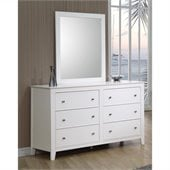 Coaster Selena 6 Drawer Double Dresser and Mirror Set in White Finish