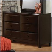 Coaster Phoenix 6 Drawer Double Dresser in Cappuccino Finish