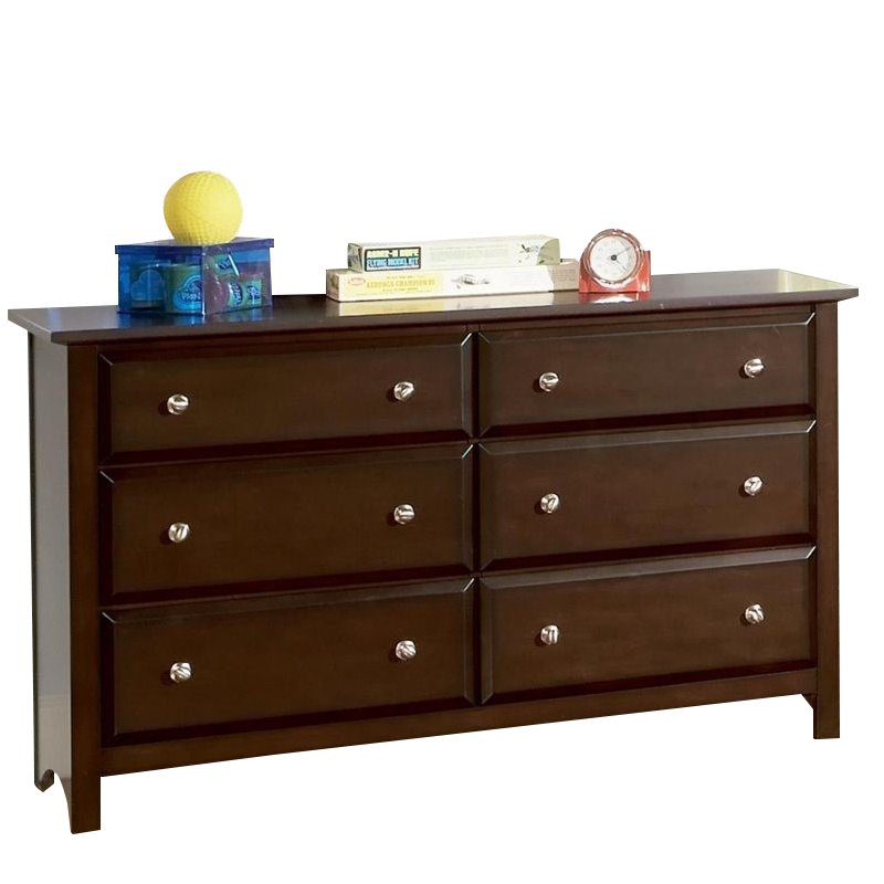 Coaster Jasper 6 Drawer Double Dresser in Rich Cappuccino Finish