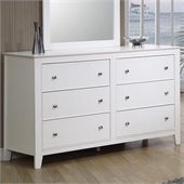 Coaster Selena 6 Drawer Double Dresser in White Finish