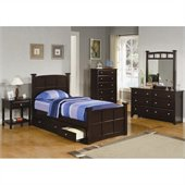 Coaster Jasper 4 Piece Bedroom Set in Rich Cappuccino Finish