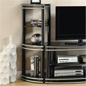 Coaster Corner Media Towers in Black and Silver (Set of 2)