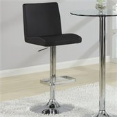 Coaster Contemporary Adjustable Black Stool with Roll Back