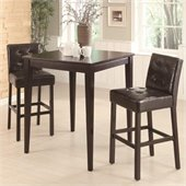 Coaster Cappuccino Square Leg Table 3 Piece Pub Set in Cappuccino