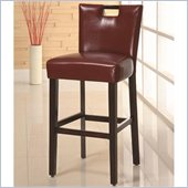 Coaster 29 Inch Cappuccino Bar Stool in Upholstered Red Wine Vinyl