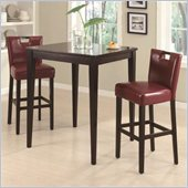 Coaster Cappuccino Square Leg Table 3 Piece Pub Set in Red Wine
