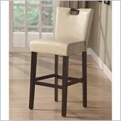 Coaster 29 Inch Cappuccino Bar Stool in Upholstered Beige Vinyl