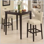 Coaster Cappuccino Square Leg Table 3 Piece Pub Set in Beige