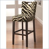 Coaster 29 Inch Cappuccino Bar Stool in Zebra Fabric
