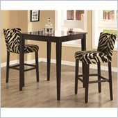 Coaster Cappuccino Square Leg Table 3 Piece Pub Set in Zebra