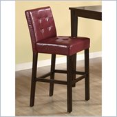 Coaster 29 Inch Cappuccino Bar Stool in Red Vinyl
