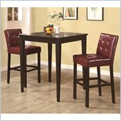 Coaster Cappuccino Square Leg Table 3 Piece Pub Set in Red Vinyl