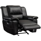 Coaster Lee Transitional Glider Recliner Chair in  Black Bonded Leather