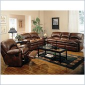 Coaster Walter 3 Piece Reclining Sofa Set in Brown Bonded Leather
