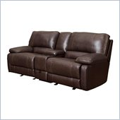 Coaster Geri Transitional Reclining Motion Loveseat in Leather Match Brown