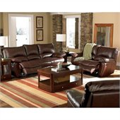 Coaster Clifford 3 Piece Reclining Sofa Set in Brown Leather Match