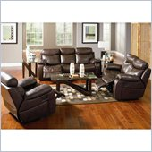 Coaster Denisa 3 Piece Reclining Sofa Set in Rich Brown Bonded Leather