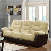 Coaster Elaina Comfortable Reclining Motion Sofa in Cream and Brown
