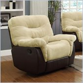 Coaster Elaina Comfortable Glider Recliner Chair  in Cream and Brown