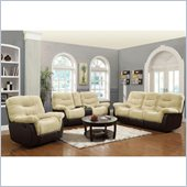 Coaster Elaina Comfortable Reclining 3 Piece Sofa Set in Cream and Brown