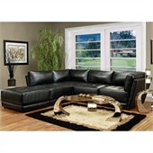 Coaster Kayson Contemporary Leather 5 Piece Sectional Sofa in Black