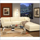 Coaster Kayson Contemporary Leather 5 Piece Sectional Sofa in White