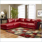 Coaster Kayson Contemporary Leather 5 Piece Sectional Sofa in Red