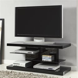 Coaster TV Stand with Alternating Glass Shelves in Black