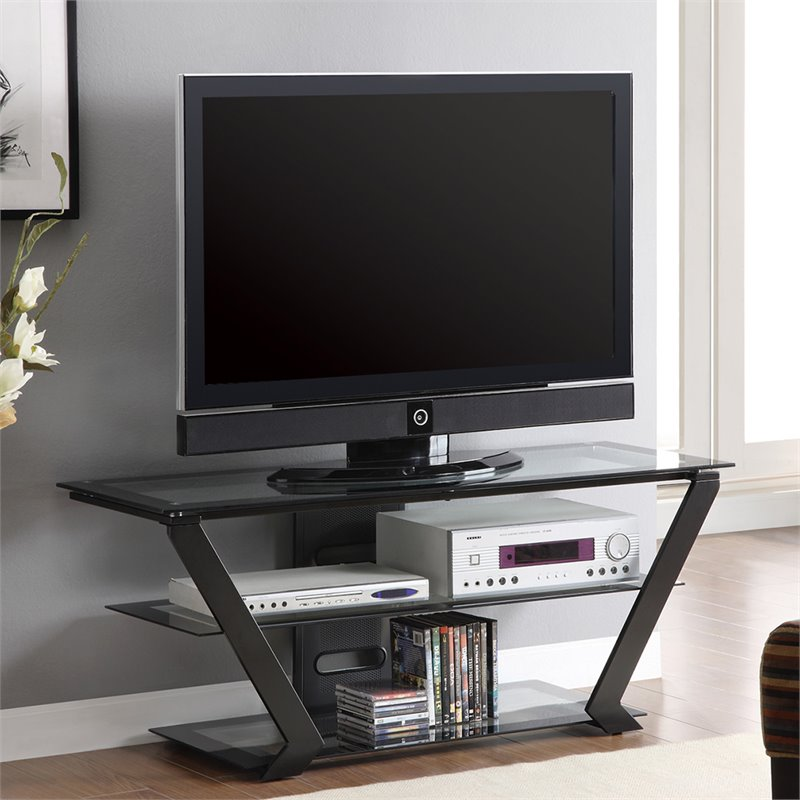 Coaster 50 TV Stand in Black with Metal Base