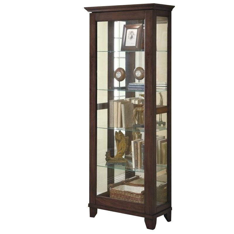 Coaster 5 Shelf Curio Cabinet with Can Lighting in Medium Brown
