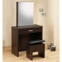 Coaster 2 Piece Vanity Set with Hidden Mirror Storage in Cappuccino