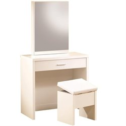 Coaster 2 Piece Vanity Set with Hidden Mirror Storage in White