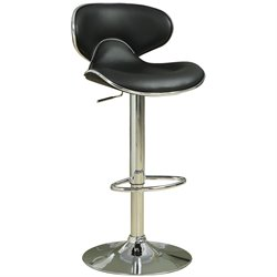 Coaster Adjustable Bar Stool with Swivel Seat in Black