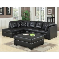 Coaster Darie Leather Sectional Sofa with Ottoman in Black