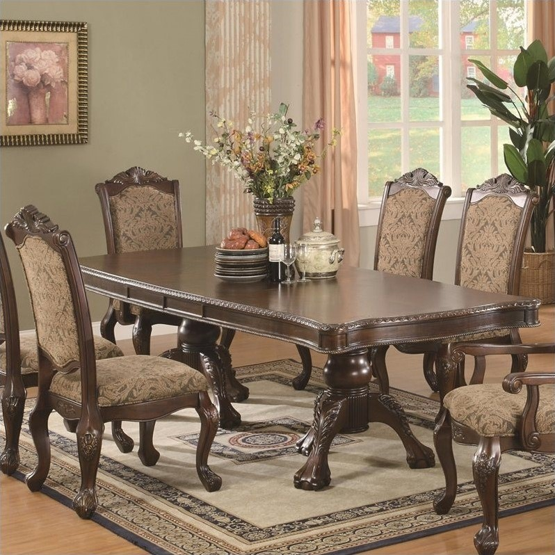 Coaster Andrea Double Pedestal Dining Table in Brown Cherry