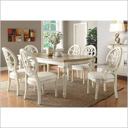 Coaster Rebecca 7 Piece Dining Table Set in White and Oak