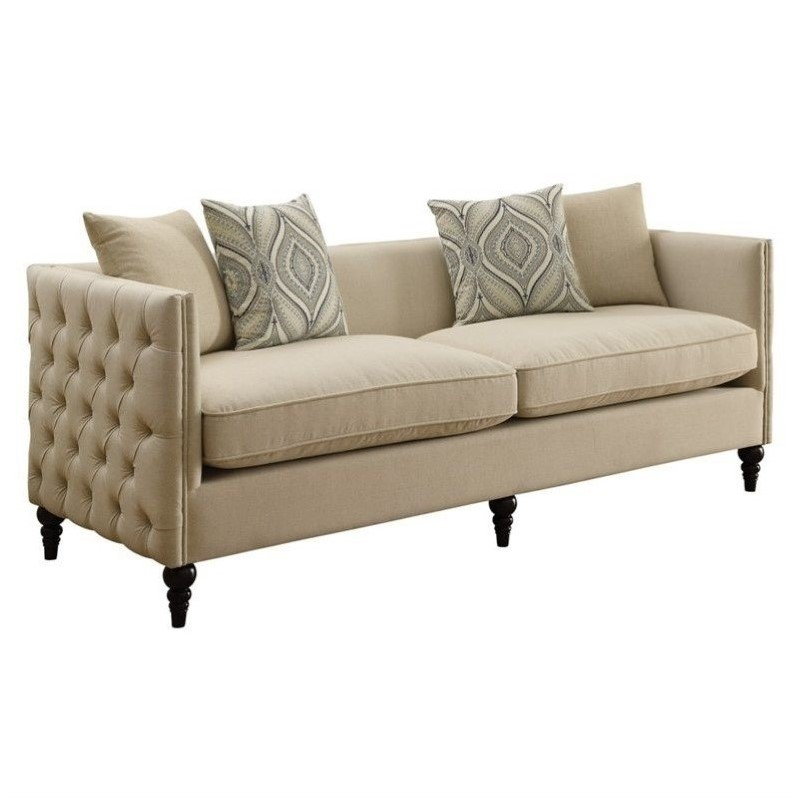 Coaster claxton tufted fabric sofa in beige 526119 Fabric sofas and loveseats