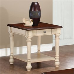 Coaster Two-Toned End Table in Brown and White