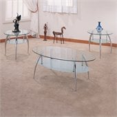 Coaster 3 Piece Chrome and Glass Occasional Table Set