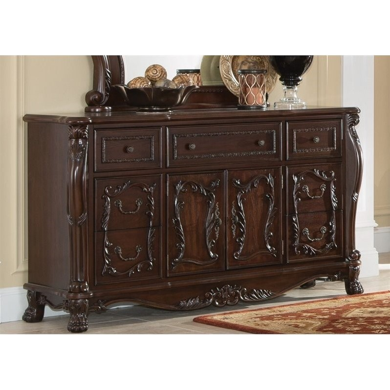 Coaster Abigail 7 Drawer 2 Door Dresser in Cherry