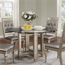 Coaster Danette Round Dining Table with Glass Top in Metallic Platinum