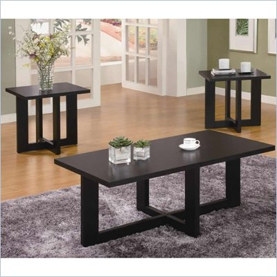 Coaster 3 Piece Occasional Table Sets Contemporary Set in Black