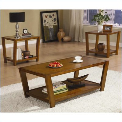 Coaster 3 Piece Occasional Table Sets Contemporary Set in Medium Brown