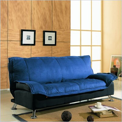 Coaster Upholstered Convertible Futon Sofa in Blue and Black