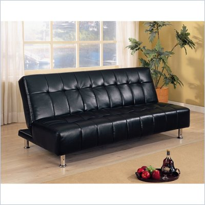 Coaster Vinyl Sofa Bed in Black